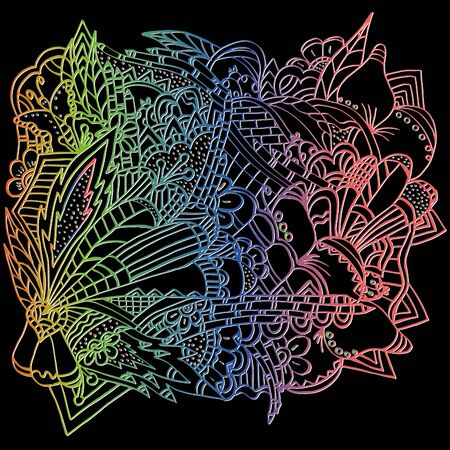 Psychedelic pattern. For meditation, soothing, twisting elements. Doodle drawn by hand. Bright outline. 스톡 콘텐츠 - 137391172