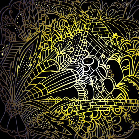 Psychedelic pattern. For meditation, soothing, twisting elements. Doodle drawn by hand. Bright outline. 스톡 콘텐츠 - 137391173