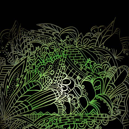 Psychedelic pattern. For meditation, soothing, twisting elements. Doodle drawn by hand. Bright outline.  イラスト・ベクター素材