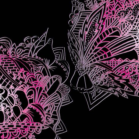 Psychedelic pattern. For meditation, soothing, twisting elements. Doodle drawn by hand. Bright outline. 일러스트