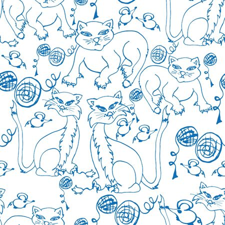 Cats with clews and mice. Hand-drawn seamless pattern. Bright outline, doodle.