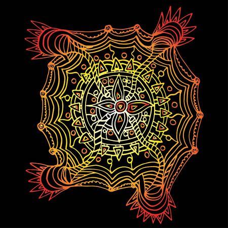 Flower mandala. Decorative round elements, doodle.Hand-drawn sketch. Graphic print.
