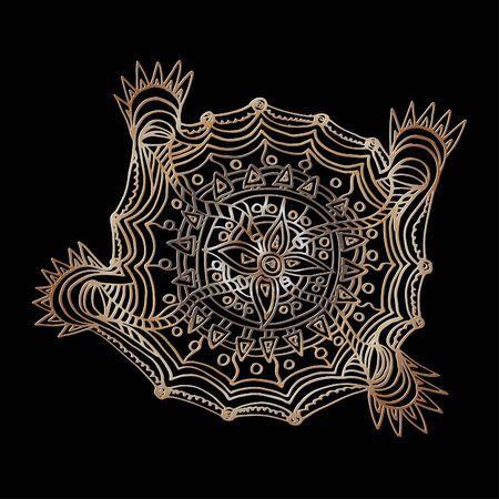 Flower mandala. Decorative round elements, doodle 일러스트