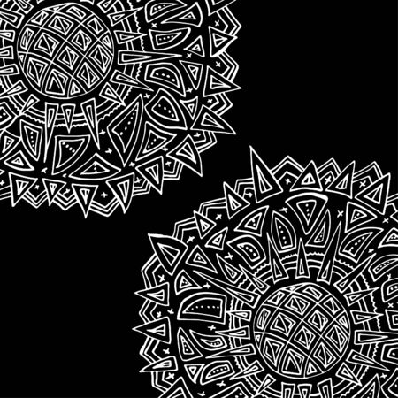 Round ornament, spinning, asian. Bright outline drawn by hand. Mandala on a black background. 스톡 콘텐츠 - 137391220