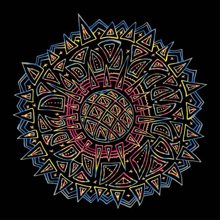 Round ornament, spinning, asian. Bright outline drawn by hand. Mandala on a black background. 스톡 콘텐츠 - 137391228