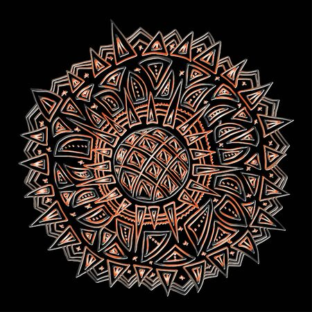 Round ornament, spinning, asian. Bright outline drawn by hand. Mandala on a black background.