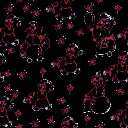 Snowmen and snowflakes. Seamless pattern, bright, festive. 스톡 콘텐츠 - 137391227