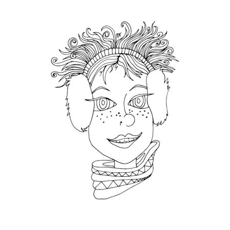 The face of a girl with curly hair in headphones. Hand drawn sketch. 일러스트