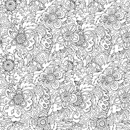 Magic garden. Flowers and Worms. Illustration drawn by hand, bright, saturated. Bright outline. 스톡 콘텐츠 - 137570656