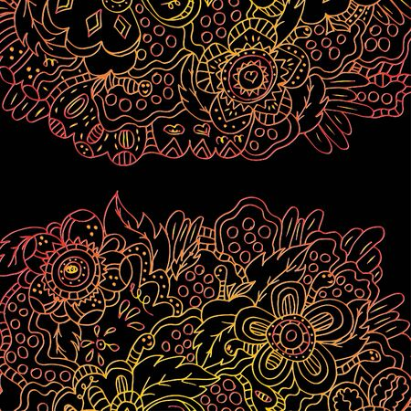 Magic garden. Flowers and Worms. Illustration drawn by hand, bright, saturated. Bright outline.