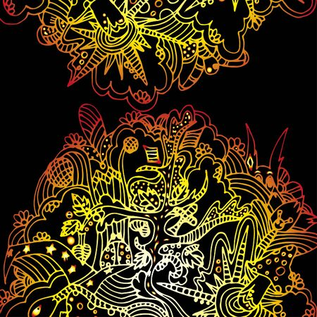 Fairy forest. Amanita mushrooms. Animals and trees. Bright, psychedelic pattern. Hand drawn sketch. Clear outline.