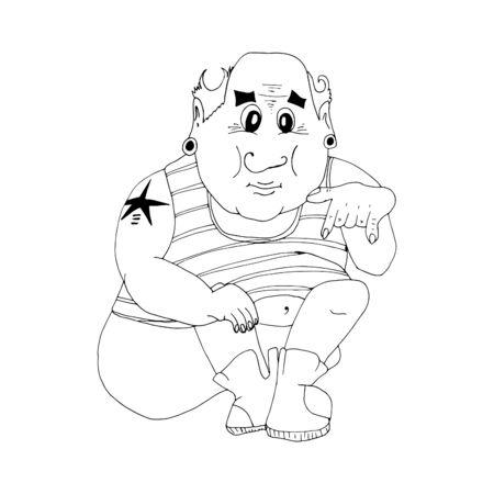 The man in the shirt. Hand-drawn sketch. Ilustração