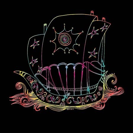 Boat on the waves. Bright pattern. Hand drawn sketch. Clear outline. 일러스트