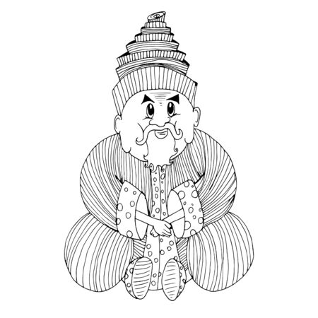 A man sits in a lotus position. Hand drawn sketch. 일러스트