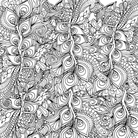 Abstract psychedelic pattern. Mushrooms. Hand drawn sketch. Doodle, bright paint. Card 스톡 콘텐츠 - 137740044