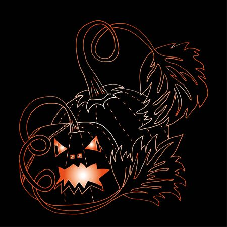 Pumpkin for Halloween. Hand drawn sketch. Clear outline. 스톡 콘텐츠 - 138092390
