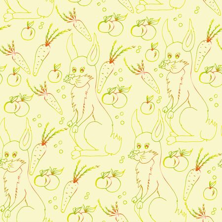 Rabbit and carrots. Seamless pattern. Hand drawn sketch. Clear outline. 일러스트