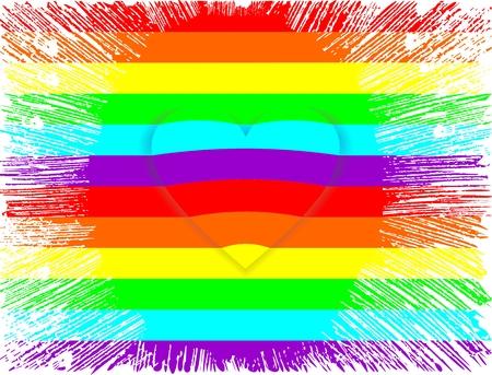 Lgbt rainbow colors flag with heart shape