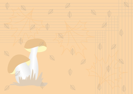 Background with mushroom and leaves in vintsge style