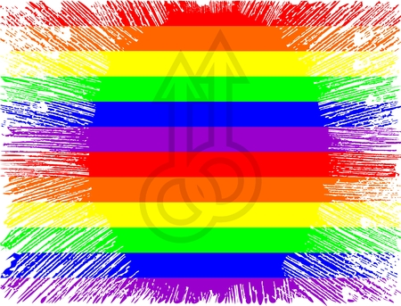 Double Mars with flag in LGBT style