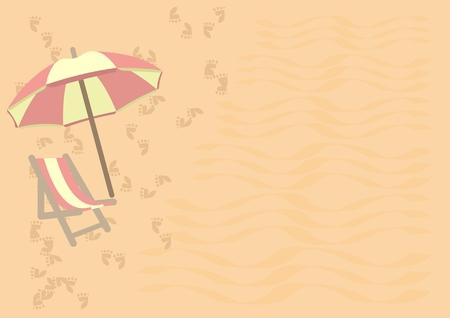 Beach background with umbrella Illustration