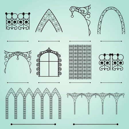 Silhouettes of street forged arches