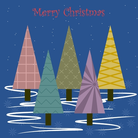 Christmas card with fir tree illustration.
