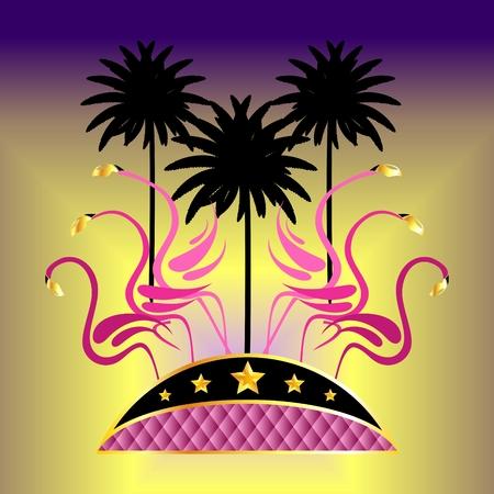 야자수와 황금빛 별이있는 핑크 플라밍고.