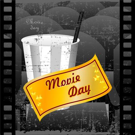 Cinema day in black and white color Vector illustration. Illustration