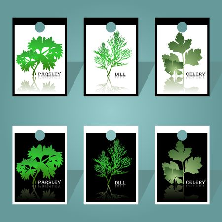 Labels with spicy herbs Иллюстрация