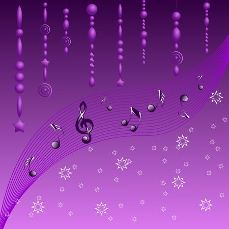 Purple garlands with musical notes