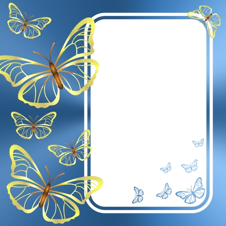 White page with golden butterflies on a blue background 일러스트