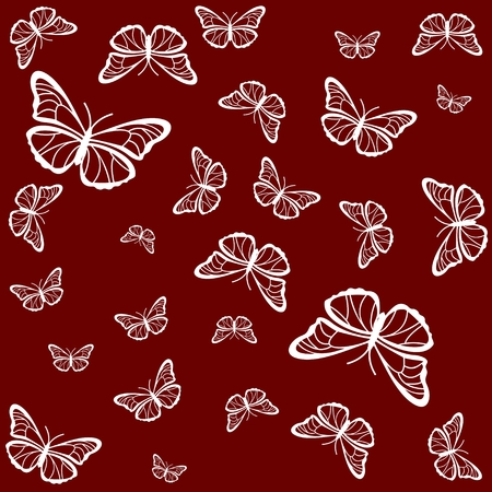 Silhouettes of white butterflies on a red background 일러스트
