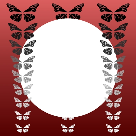 White circle with butterflies on a red background