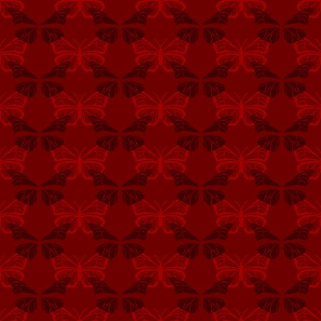 Red seamless pattern with butterflies of two colors
