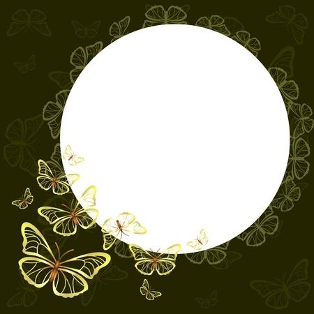 습지의 배경을 배경으로 흰 나비의 실루엣