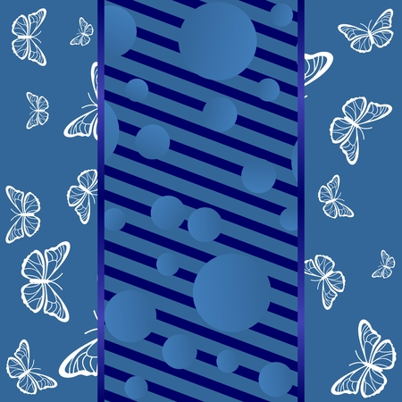 Blue background with butterflies, lines and circles