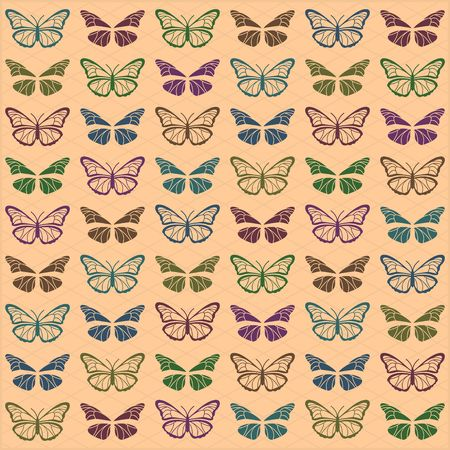 Green background with multi colored butterflies