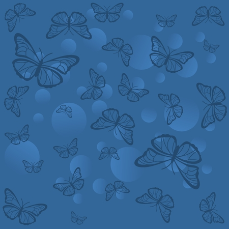 Silhouettes of butterflies with circles on a blue background. Ilustracja