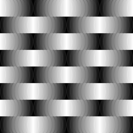 Black-and-white braided pattern of bands and waves illustration. Illustration