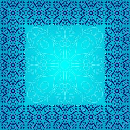Frame made of blue ornament