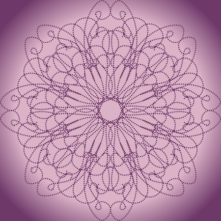 Pink ornament of balls on a violet background