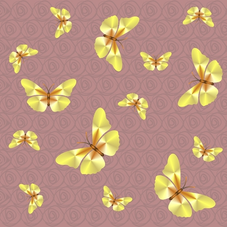 Pink pattern with butterflies with spirals background