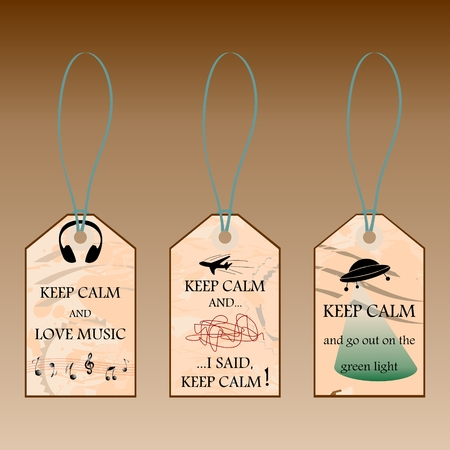 Labels with Keep calm text on vintage background illustration.