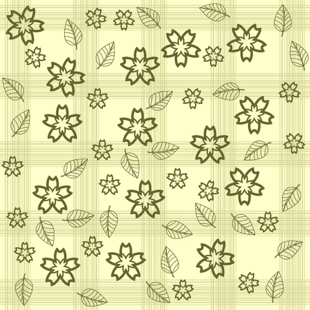 Background with flowers and leaves.