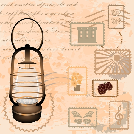 Vintage back ground with lantern and postage stamp