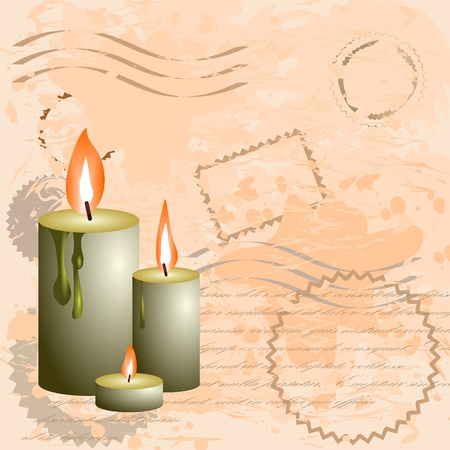 Vintage background with wax candles and postage stamps Illustration