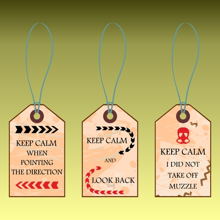 Funny shortcuts with text Keep calm and vintage background Ilustração