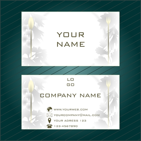 Business card in light gray tones