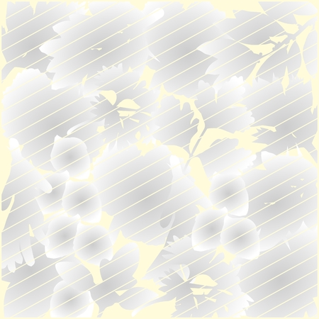 Grey and yellow floral background with lines Ilustração